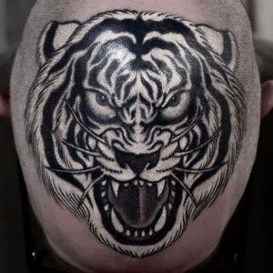 Tiger scalp by Horimasa Tosui #HorimasaTosui #blackandgrey #whiteink #Japanese #tiger #junglecat #fangs #stripes #cat #tattoooftheday