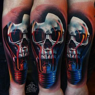 Lightbulb Skull Tattoo by Alex Pancho #lightbulb #realism #colorrealism #realistictattoo #abstractrealism #realistictattoos #AlexPancho