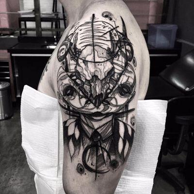 Tattoo por Felipe Santo! #FelipeSanto #TatuadoresBrasileiros #tatuadoresdobrasil #tattoobr #SãoPaulo #blackwork #face #goat #skull #goatskull