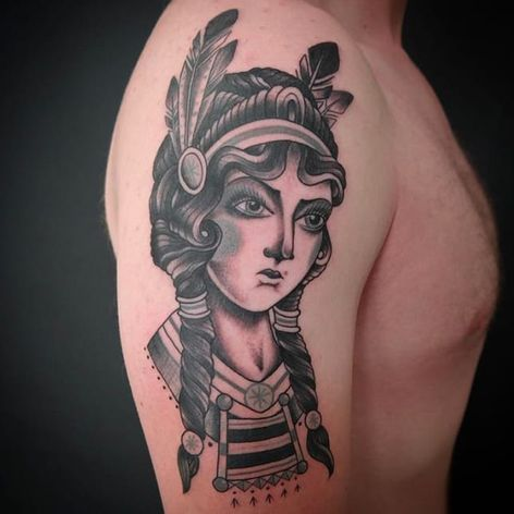 Tattoo by John Peeler #JohnPeeler #blackandgrey #traditional #womanshead