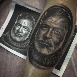 Hemingway Portrait (via IG -- utstattooshop) #ernest #ernesttattoo #hemingway #hemingwaytattoo