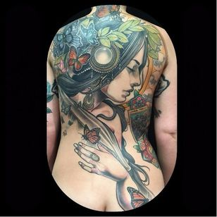 Gorgeous backpiece by Jurgen Eckel #JurgenEckel #neotraditional #lady #backpiece