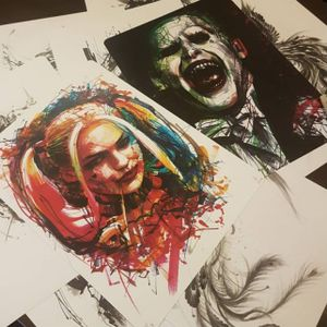 Suicide Squad portraits by Ael Lim. #AelLim #marker #style #contemporary #sketch #experimentalism #suicidesquad #portrait #harleyquinn #joker
