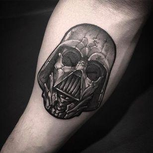 Darth Vader tattoo by @Garaskull #skeleton #black #blackwork #xray #DarthVader #StarWars #movie