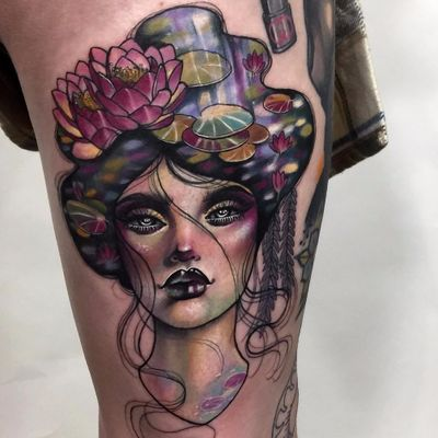 Lady of the Lake by Hannah Flowers #HannahFlowers #neotraditional #color #ladyhead #lady #lake #water #nature #lilypad #lily #lotus #flowers #Artnouveau #tattoooftheday