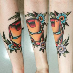 Iron Man tattoo of Sofie. #marvel #superhero #ironman #comic #movie #tonystark #traditional