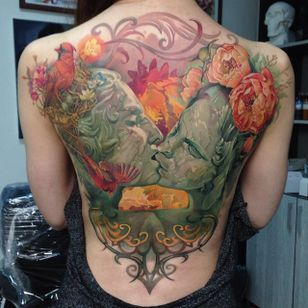 Tattoo by Dmitriy Samohin #DmitriySamohin #selftaughttattooartists #backpiece #portrait #birds #flowers #peonys #filigree #painterly #nest #nature #kiss #lovers #love