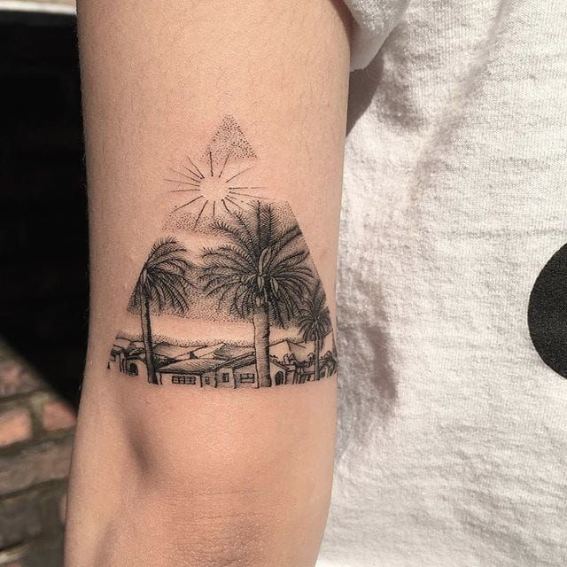 Palm trees and houses in a cozy landscape, by Oozy. (via IG—oozy_tattoo) #TattooRoundUp #Tiny #Landscapes #PalmTrees