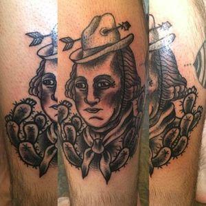 Wild West Washington by Noryan (via IG -- tattoosbynoryan) #noryan #cowboy #cactus #georgewashington