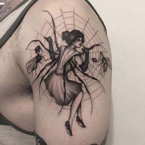 Caught in the web. (via IG - adamvunoir) #Spider #SpiderLady