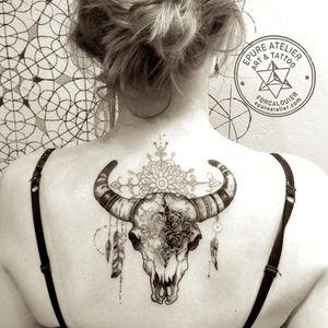 Cow skull tattoo by Marie Roura #MarieRoura #graphic #spiritual #cowskull #animalskull #skull
