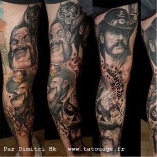 Full leg piece by Dimitri HK #DimitriHK #motörhead #motorhead #lemmy #caricature #portrait #newschool #blackandgrey