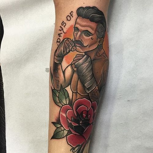 Boxer Tattoo by Alberto Megina #boxer #neotraditional #neotraditionalartist #spanishartist #AlbertoMegina