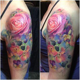 Watercolor Flora by Samantha Ford (via IG-samantha_ford_tattooers) #watercolor #flower #flora #painterlystyle #flowers #samford #samanthaford