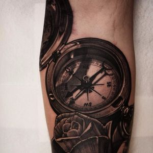 Show me which way to go by Jacob Wiman #JacobWiman #realism #realistic #hyperrealism #blackandgrey #compass #rose #travel #map #nature #tattoooftheday