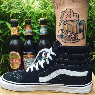 Traditional beer and banner tattoo by Vincent Simon. #traditional #banner #lettering #beer #glass #VincentSimon