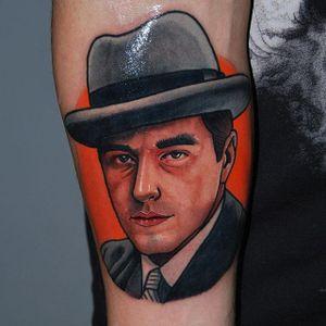 Michael Corleone Tattoo by Alex Ciliegia #michaelcorleone #thegodfather #thegodfathertattoo #popculture #popculturetattoo popculturetattoos #charactertattoos #portraittattoos #celebritytattoo #poptattoos #iconictattoos #AlexCiliegia