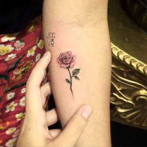 Por Vic Nascimento #VicNascimento #brasil #brazil #TatuadorasDoBrasil #brazilianartist #fineline #botanica #botanical #rose #rosa #flower #flor #colorida #colorful #delicate #delicada