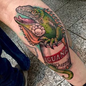 Iguana Tattoo by Janis Seebald #iguana #iguanatattoo #lizardtattoo #lizardtattoos #reptiletattoo #reptiletattoos #reptile #lizard #traditional #traditionaliguana #JanisSeebald