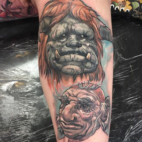 A neo-traditional portrait of Ludo and Hoggle from Labyrinth by Matt Barratt-Jones (IG—oddboytattoo). #Hoggle #Labyrinth #Ludo #MattBarrattJones #neotraditional