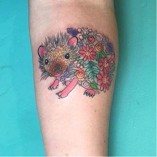 Hedgehog tattoo by Briana Buju. #hedgehog #animal #flower #BrianaBuju