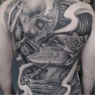 OG Abel tattoo by Giannis Mavropoulos #OGAbel #art #chicano #blackandgrey #GiannisMavropoulos #skull #caterina #diadelosmuertos #kiss