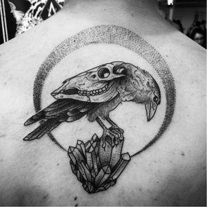 Surrealistic blackwork tattoo by Arnaud Point Noir #ArnaudPointNoir #blackwork #sketch #illustrative #dotwork #crow #animalskull #crystal