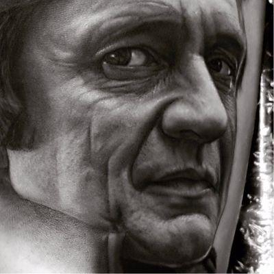 Walk the Line by Ralf Nonnweiler #Ralfnonnweiler #blackandgrey #realism #realistic #hyperrealism #portrait #JohnnyCash #country #countrymusic #musictattoo #music #singer #walktheline #tattoooftheday