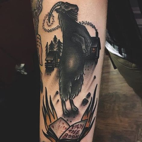 Traditional rearing Black Phillip. (via IG—deadbaybees) #BlackPhillip #Goat #666 #Devilish #Devil #Satan #SatanicGoat