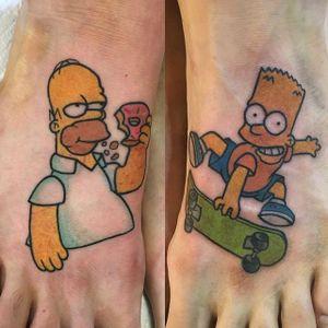 Bart and Homer Tattoo by Melanie Milne #bartsimpson #homersimpson #simpsons #simpsonstattoo #thesimpsons #cartoon #cartoontattoo #tv #tvtattoo #MelanieMilne