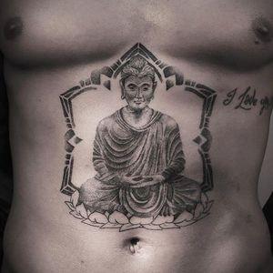 Buddha Tattoo by Mark Ostein #Dotwork #DotworkTattoos #DotworkTattoo #DotworkArtist #Blackwork #FineLine #FineLineTattoos #ContemporaryTattoos #MarkOstein