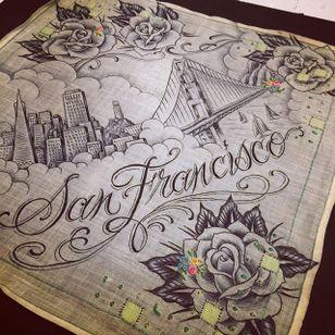 San Fransisco via instagram maryjoytattoo #handkerchief #flashart #art #rose #sanfransisco #goldengatebridge #maryjoy