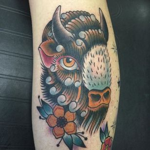 Buffalo Tattoo by Josh Daniels #Buffalo #BuffaloTattoo #Bison #AmericanTraditional #Traditional #JoshDaniels