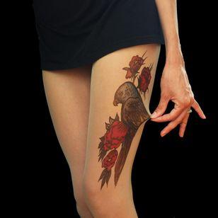 Bird and Flowers by TATUL (via etsy.com) #tattooedtights #painted #art #fashion #TATUL #temporarytattoos #tights #stockings