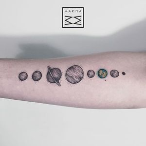 Planet Tattoo #solarsystem #dotwork #colordotwork #subtletattoos #minimal #delicatetattoos #MariyaSummer