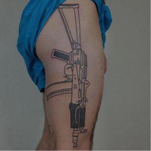 Sub-machine gun tattoo by Victor Zabuga #VictorZabuga #minimalistic #blackwork #conceptual #gun