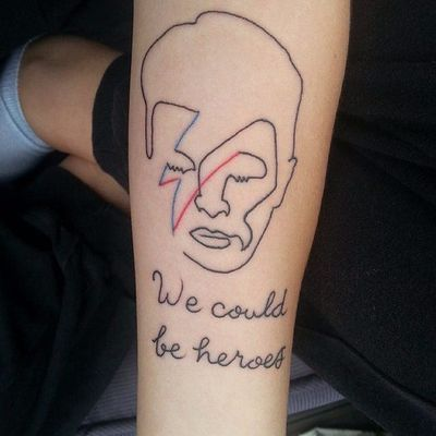 Simple and clean Heroes tattoo with Bowie #Bowie #DavidBowie #WeCouldBeHeroes #Heroes #PlayItAgain #lyricstattoo