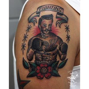 Traditional style boxer tattoo by Peter from Ibiza Ink #traditionaltattoo #boxertattoo #boxer #traditional