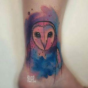 Watercolor Owl Tattoo by Russell Van Schaick #watercolorowl #watercolorowltattoo #owl #owltattoo #owltattoos #watercolor #watercolortattoo #watercolortattoos #watercolorartist #colorful #bird #birdtattoo #RussellVanSchaick