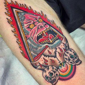 Ape, eye and skulls. Tattoo by Gregory Whitehead @Greggletron #GregoryWhitehead #Gregorywhiteheadtattoo #Oddtattoos #Neotraditional #Neotraditionaltattoo #ScapegoatTattoo #Portland #Ape #Skulls #Eye