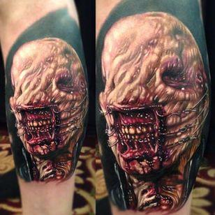 Demon by Paul Acker (via IG-paulackertattoo) #horror #horrorrealism #portrait #color #realism #halloween #demon #monster #PaulAcker