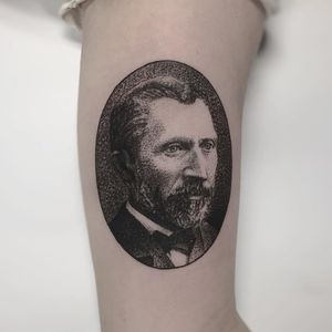 Van Gogh Portrait tattoo by Charley Gerardin #CharleyGerardin #finearttattoos #portrait #VanGogh #painter #dotwork #blackandgrey #artist