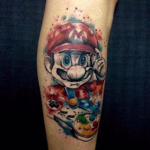 #RobertoFelizatti #aquarela #watercolor #tatuadoresdobrasil #sketch #colorida #colorful #supermario #nintendo #gamer #games #nerd #geek #Mario #joystick #videogame