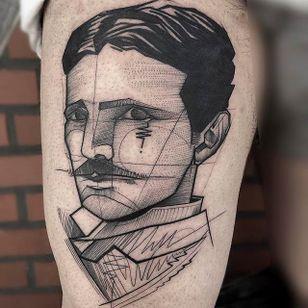 Nikolai Tesla Chaotic Blackwork Tattoo by Frank Carrilho @FrankCarrilho #FrankCarrilhoTattoo #FrankCarrilho #Chaotic #Black #Blackwork #Tesla #Portrait