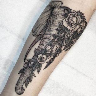 Elephant with flowers, by Kyle Stacher. (via IG—thiefhands) #blacktattooing #dotwork #kylestacher