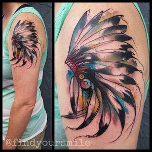 Headdress Tattoo by Russell Van Schaick #headdress #nativeamerican #nativeamericanheaddress #indian #indianart #RussellVanSchaick #watercolor