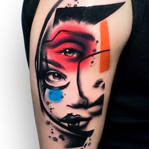 All your faces haunt me. Tattoo by Szymon Gdowicz #SzymonGdowicz #trippytattoos #watercolor #inksplatters #splatters #illustrative #realism #realistic #mashup #portrait #lady #ladyhead #popart #graphicart #abstract