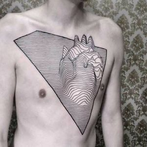 Chestpiece by Chaim Machlev #Dotstolines #ChaimMachlev #geometric #lines #joydivision #heart