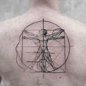 The Vetruvian Man Chaotic Blackwork Tattoo by Frank Carrilho @FrankCarrilho #FrankCarrilhoTattoo #FrankCarrilho #Chaotic #Black #Blackwork #Vetruvianman