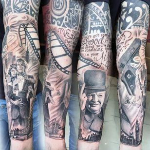 A sleeve paying tribute to London, Moore as James Bond, and Winston Churchill by Katherine Parkes. (Via IG - katherineparkess) #RogerMoore #007